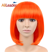 Alileader Kaneklon Synthetic Heat Resistant Carnival Hair Costume Halloween Cosplay Short Student Party Salon Bob Straight Hair(China)