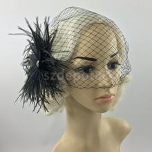 Vintage Black Birdcage Veil with Feather Fascinator Wedding/Funeral/Church