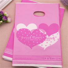 2017 Wholesale 100pcs/lot 20*30cm Fashion Love Sweet Love Plastic Shopping Bags With Handles Favor Wedding Candy Packing Bags