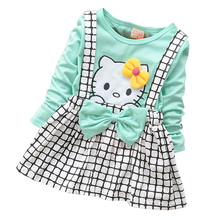 2017 Spring Summer KT Cat Baby Girl Dress Long Sleeve 1 Year Baby Birthday Dress Strap Plaid Infant Girl Dresses(China)
