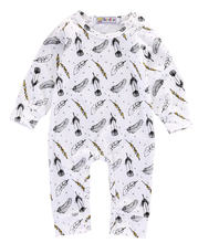 2016 wholesale dropshipping Infant Baby Girl Boys cartoon Feather printed Romper long sleeve Outfits