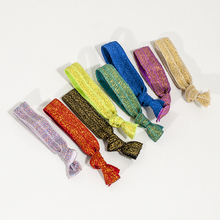 200pcs Gold & silver thread Goody Ouchless Ribbon Hair Bands Women's Hair Accessories Emi Jay Like Elastic Yoga Hair Ties