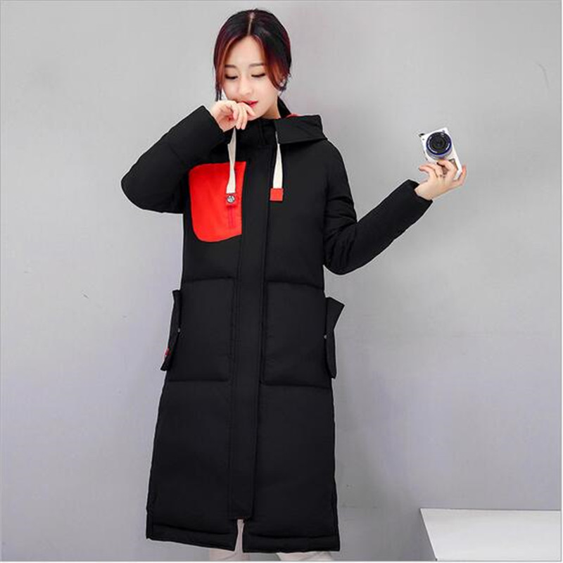 2017 New Winter Preppy Women Down Cotton Jacket Fashion Stand Collar Hooded Padded Coat Slim Long Thicken Outerwear Parka A1971Одежда и ак�е��уары<br><br><br>Aliexpress
