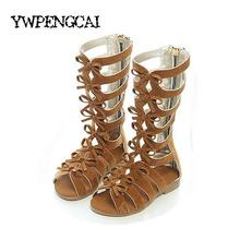 New 2017 Summer Girls Knee High Gladiator Sandals Zipper Cut-outs Kids Sandals For Girl Size 26-35