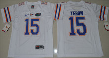 Nike Youth 2016 NikeFlorida Gators Tim Tebow 15 College Ice Hockey Jerseys - White Size S,M,L,XL(China)