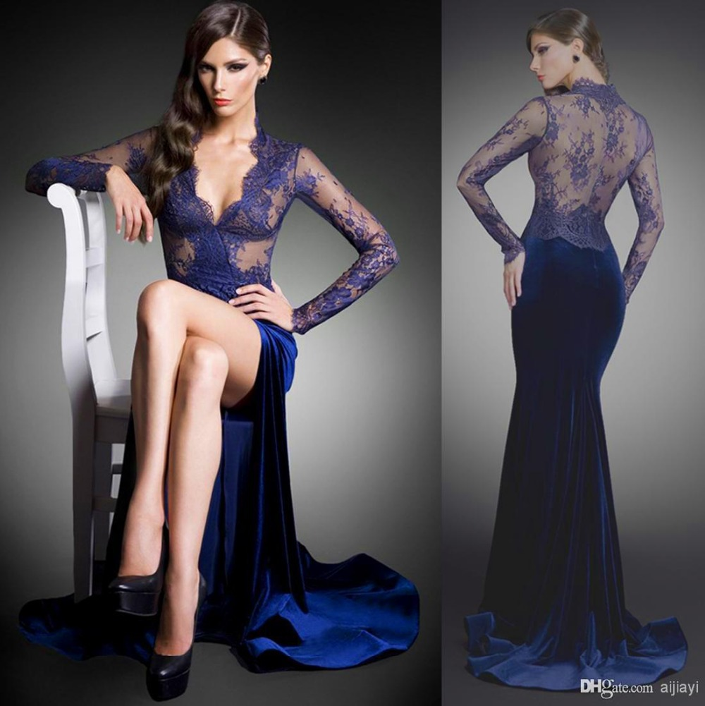 vestido de festa robe de soiree 2018 sexy deep v-neck long sleeve blue lace prom evening formal gown Mother of the Bride Dresses