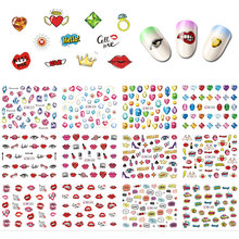 12 in 1 Low Price On aliexpress full sexy Lips Nail Art Summer Flower Turtle Nail Art Nail Decals N(BNP21)#577-588, #BNseires