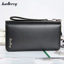 Men PU Leather Wallets Long Double Zipper Clutch Wallets Photo Card Holder Male Purse Cell Phone Pocket Men Hand Bag MT100523