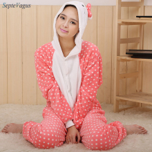 Adult Animal Onesies Hello kitty Onesies Pajamas  Animal costume onesies Pyjamas sleepwear Cosplay Animal Costume Free Shipping