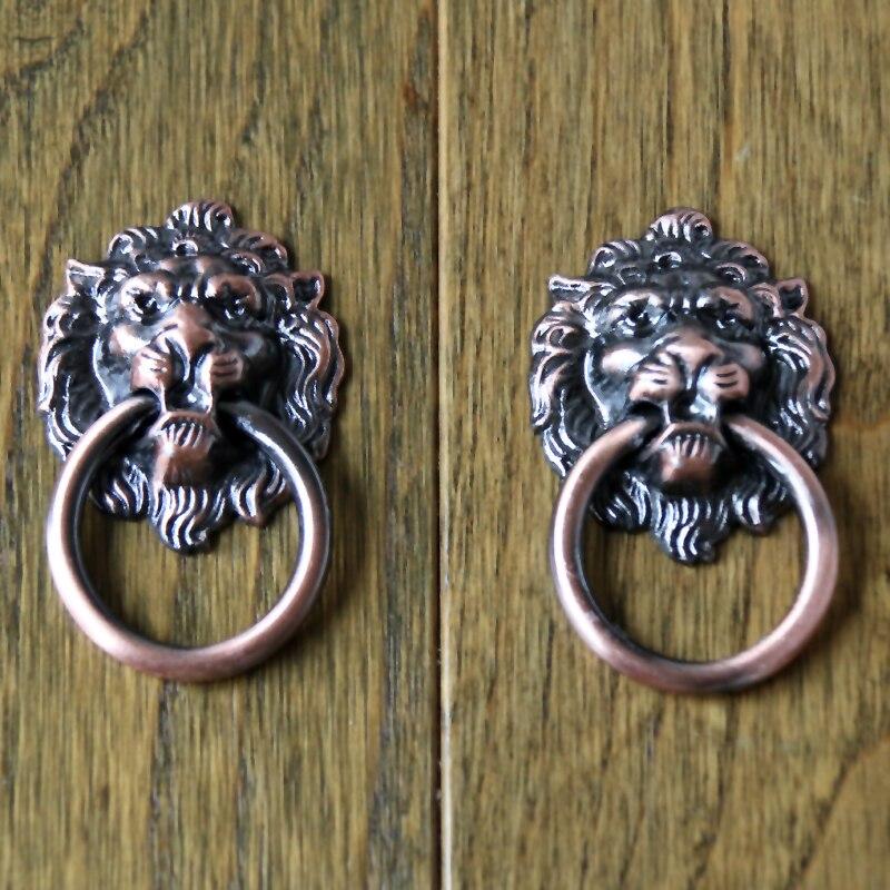Lion Drawer Pull Knobs Handles Dresser Drop Pulls Rings Antique Bronze Lion Head Door Knocker Cabinet Knob Handle<br><br>Aliexpress