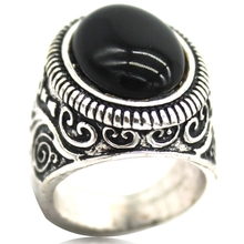 Size 7 8 9 10 11 12 13 14 15 Antique Retro Vintage Silver Plated Black Onyx Crystal Stone Ring Cocktail