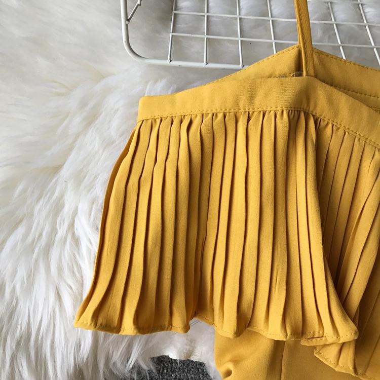 2019 Spring Women Chiffon Pleated Braces Sling Spaghetti Strap Goffer Long Dress Ladies Ruffles Empire Drapped Swing Slip Dress 209