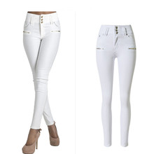 Jeans With High Waist Denim Stretchable Buckle Button Decorated Zipper Skinny Full-Length Women Butt Push Up Fashion White Jeans