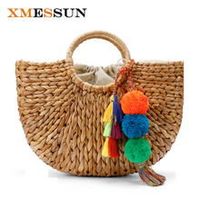 Beach Bag Straw Basket Totes Bag Bucket Large Big Summer Bags with Tassels Pom Pom Women Natural Handbag 2017 New High Quality(China)
