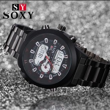 2017 Brand SOXY Watch Luxury Led Dial and Quartz Round Dail Mitifunction Men's Sports Out Door High Quality Masculion Relojio