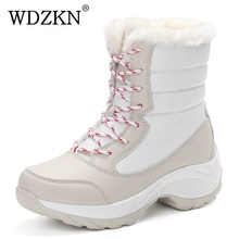 2017 women snow boots winter warm boots thick bottom platform waterproof ankle boots for women thick fur cotton shoes size 35-41(China)