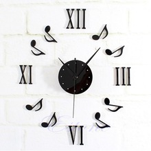 New 1pc Modern DIY Music Note Mirror Surface Wall Clock Sticker Home Office Decor Black