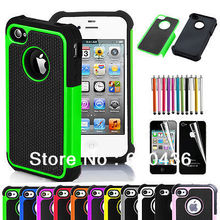 Pen+Phone Case for iPhone 4 4S Rugged Rubber Matte Hard Silicone Case Cover Screen Protector Free Shipping as Gift(China)
