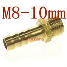 LOT 5 Hose Barb I/D 10mm x M8 Metric Male Thread Brass coupler Splicer Connector fitting for Fuel Gas Water