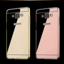 Luxury gold metal plating aluminum Frame soft acrylic mirror Case cover for samsung galaxy A3 A5 A7 J3 J5 J7 2015 2016 J510 J710