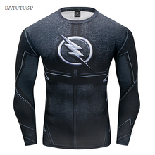 Hot 3D Printed T-shirts Men Raglan Long Sleeve Compression Shirt Flash Cosplay Costume crossfit fitness Clothing Tops Male(China)