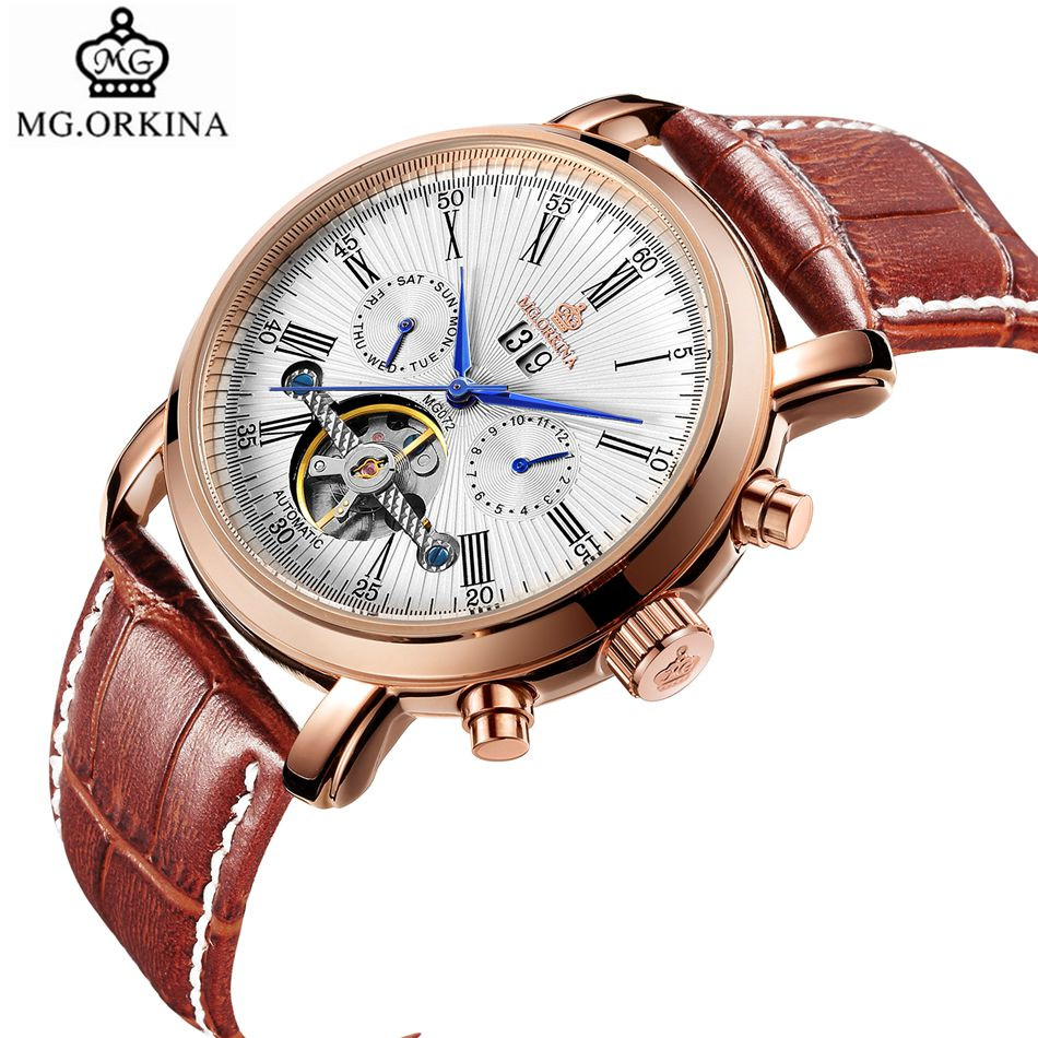 MG.Orkina Fashion Mens Day/Week/Month/Year Tourbillion Automatic Mechanical Watch Gift Box Free Ship<br>
