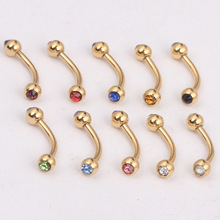 10pcs Eyebrow Piercing Curved Barbells Bananas Ball Black gold silver crystal Nose labret Piercing Body Jewelry 16G nipple bar