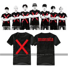 KPOP MONSTA X LOGO RED X  WONHO IM MINHYUK YOOKIHYUN HYUNGWON SHOWNU JOOHEON  same style short sleeved T-shirt