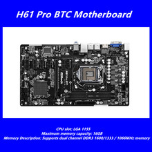 Buy Original used H61 mining board FOR ASRock H61 Pro BTC motherboard LGA 1155 DDR3 6 * PCI-E slot VGA interface HDMI interface ATX Store) for $108.88 in AliExpress store
