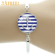 TAFREE Elegant charm winter style bangle Anchor Nautical Navy Blue Strips bracelet men women bracelet Fleur de Lis jewelry T240(China)
