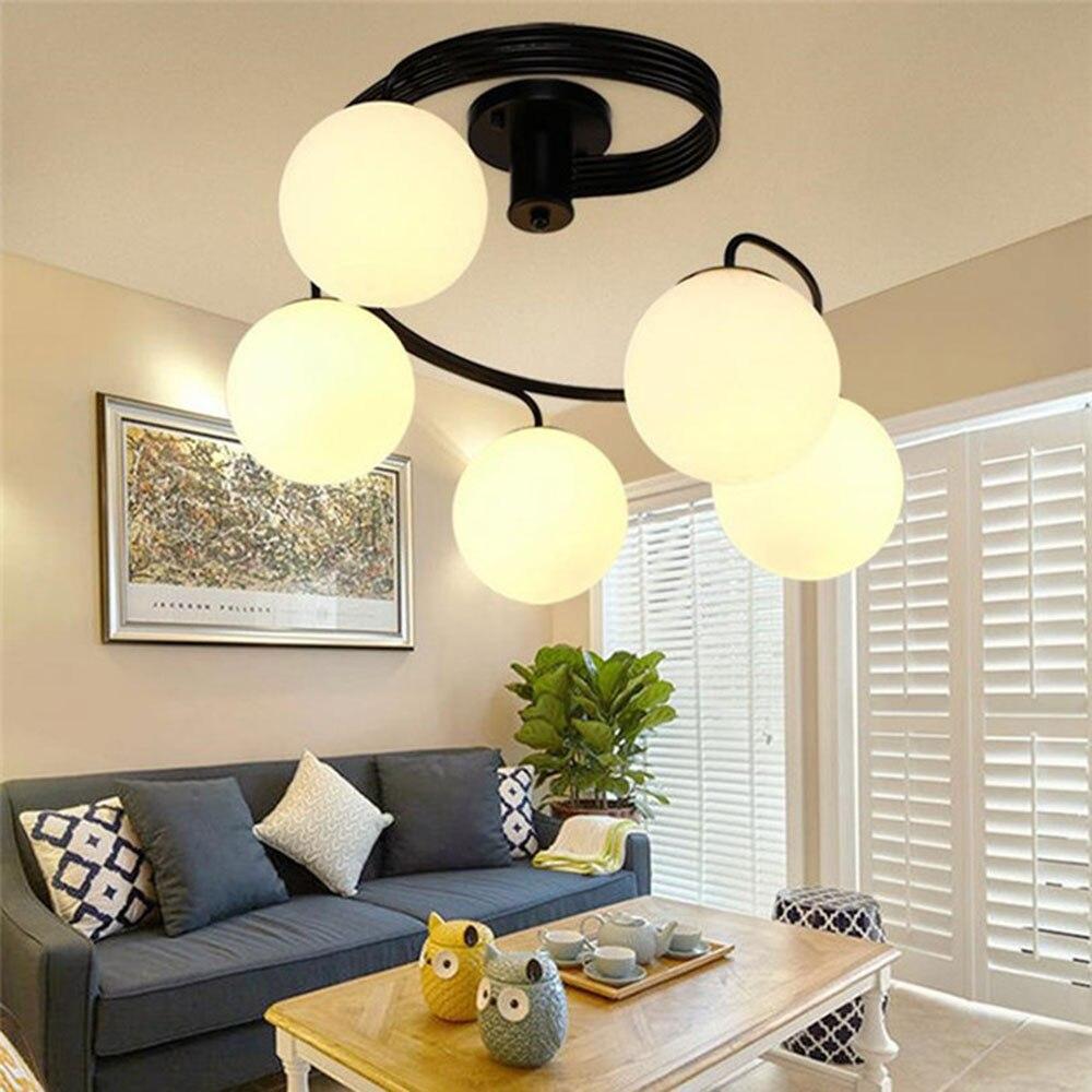 Modern minimalist LED ceiling circular lights artistic living room bedroom childrens room glass shade restaurant lamps plafond<br><br>Aliexpress