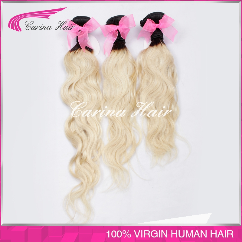 Malaysian ombre hair extensions dark roots blonde hair 1b/613 free shipping wholesale price 3pcs natural wave ombre human hair<br><br>Aliexpress