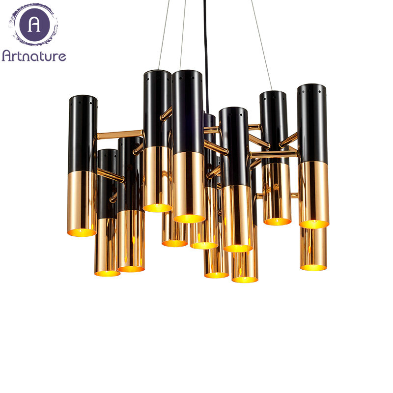 High Quality Modern Black Gold Led Pendant light for office bar hotels clubs livingroom bedroom<br>