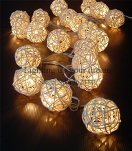 2016 new 2M 20 LED Warm White Rattan Ball LED String Lighting Holiday Christmas Wedding Party Curtain Decoration Lights Xmas