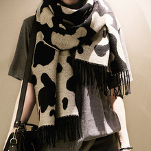 Big Dairy Cattle Cow Print Black And White Heavy Large High Quality Comfortable Cashmere Blend Scarf
