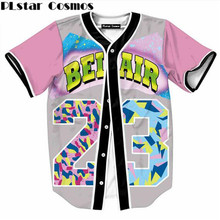 PLstar Cosmos Mens 3D Shirt Streetwear Tees Shirts Hip Hop Bel Air 23 - Fresh Prince Chill Flower Custom Made Baseball Jersey