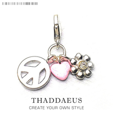 Peace, Love, Flowers Pendant Charms 925 Sterling Silver Gift Fit Thomas key Chain  Necklace Bracelets For Women & Men