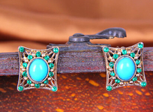 2017 trendy buy antique blue crystal earring stud antique turkish ottoman jewelry(China)