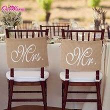 Buy Khaki Mr. & Mrs. Burlap Chair Banner Set Chair Sign Garland Rustic Wedding Party Decoration for $2.99 in AliExpress store