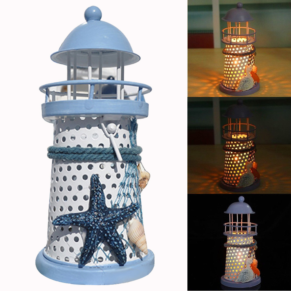 Mediterranean Lighthouse Iron Candle Candlestick Blue White Home Table Decor Candle Stand Wedding Candelabra 14 x 6.5 x 6.5cm(China (Mainland))