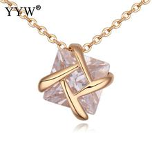 New Arrival Clear Cubic Zircon Charm Necklace 925 Sterling Silver Pendant Necklace for Women Girl's Jewelry Champagne Gold Color