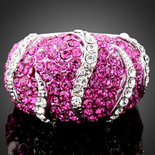 Romantic Setted with Austrian Crystal Rhinestones Flowers Alloy Shiny Luxurious Band Statement Ring Women's Fashion Jewelry