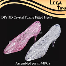 3D DIY Crystal Puzzle Educational Learning Toy Shoe Princess Dream Shining Shoe Gifts for Girls Toys 44PCS Building sets(China)