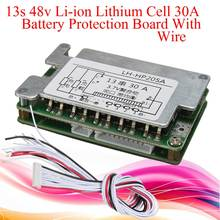 New Arrival 48V BMS 13S Li-ion Battery 30A Lithium Battery Protection Board Balance + Wire Board Module 70x45x15mm