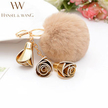 New Leather 3 Camellia Key Chain Rex Rabbit Fur Ball Fluffy Keychain Pompom Bag Charm for Women Car Key Ring Llaveros Gift 2KC48