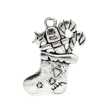 20Pcs Antique Silver Tone Christmas Candy Cane Stocking Charms Pendants Jewelry Findings 29x25mm