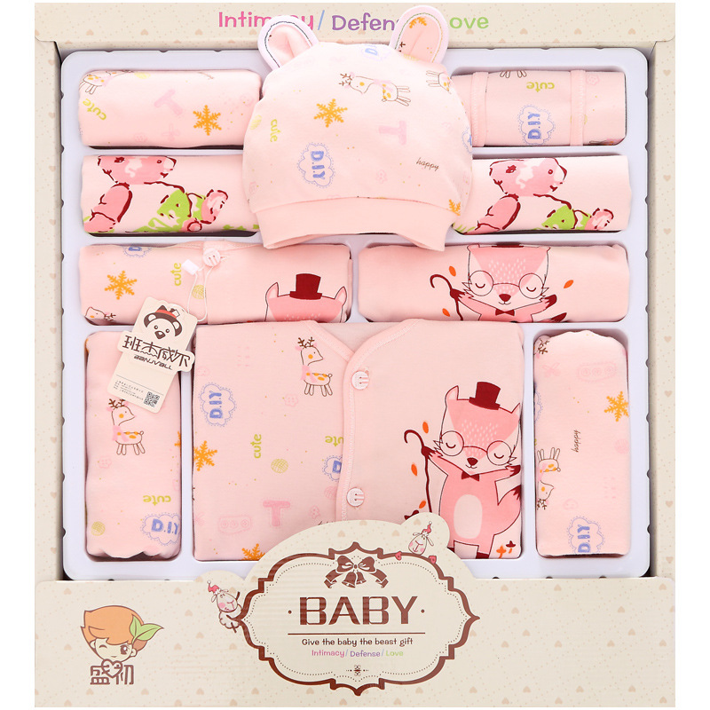 13Pcs/Lot 2017 Newborn Baby Girl Clothes Autumn Cartoon Fox Gift Box Set Cotton Character Baby Boy Clothes<br>
