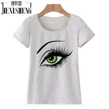 2017 Summer T shirt Women Tops Tees Short Sleeve Cotton Big Eyes Print Tshirt Funny T-shirt Woman Clothes Plus Size