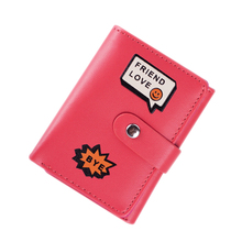 MCvilla Womens wallets and purses Short PU Leather credit card holder Mini Wallet Cartoon Letter inner Zipper ladies wallet 2016