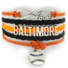 Infinity Love Baltimore Baseball Charms Bangle Bracelet  Multi Layers Colors Custom Cheer City Sports Wrist Wrap Bracelet